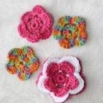 set of 4 crochet flowers.